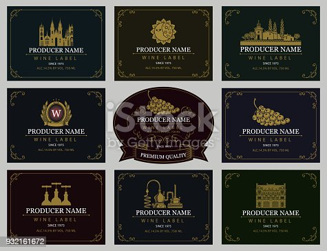 Vector set of wine labels with the image of grapes, winery, castle, sun, landscape, coat of arms and other in retro style in frames with curls