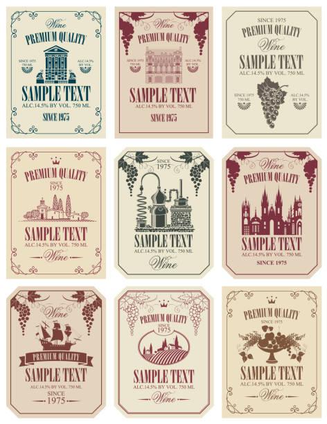 bildbanksillustrationer, clip art samt tecknat material och ikoner med uppsättning vector etiketter för vin i retrostil - vinodling