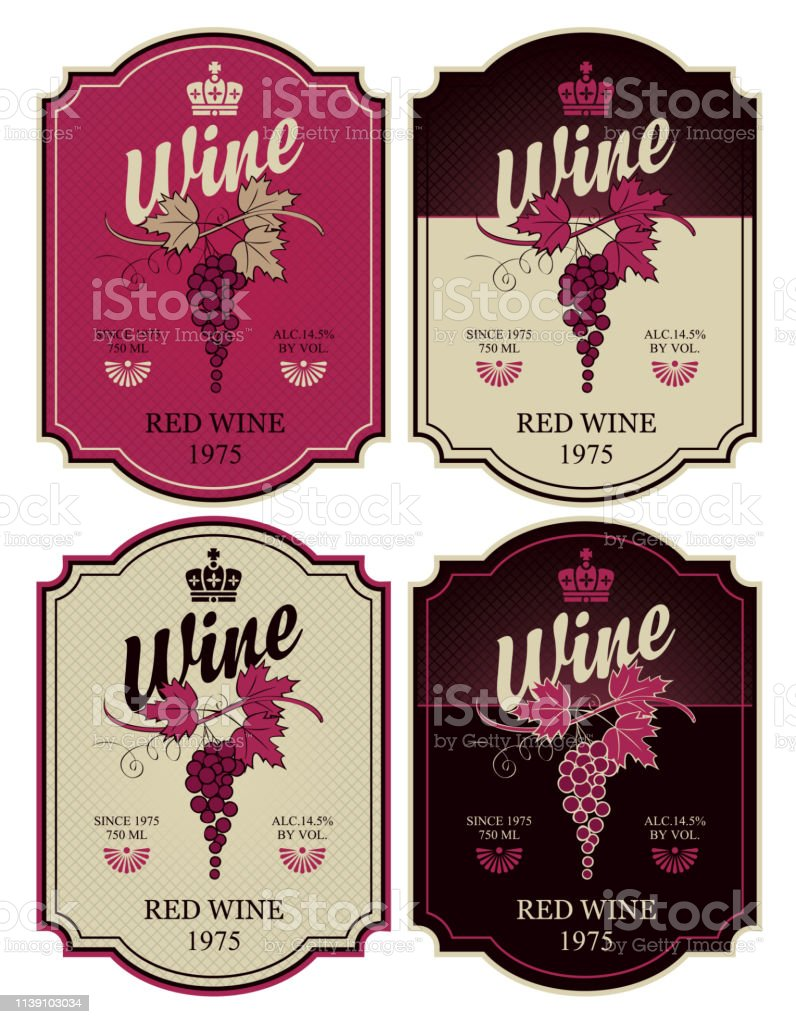 Set of four vector labels for red wine with bunch of grapes and...