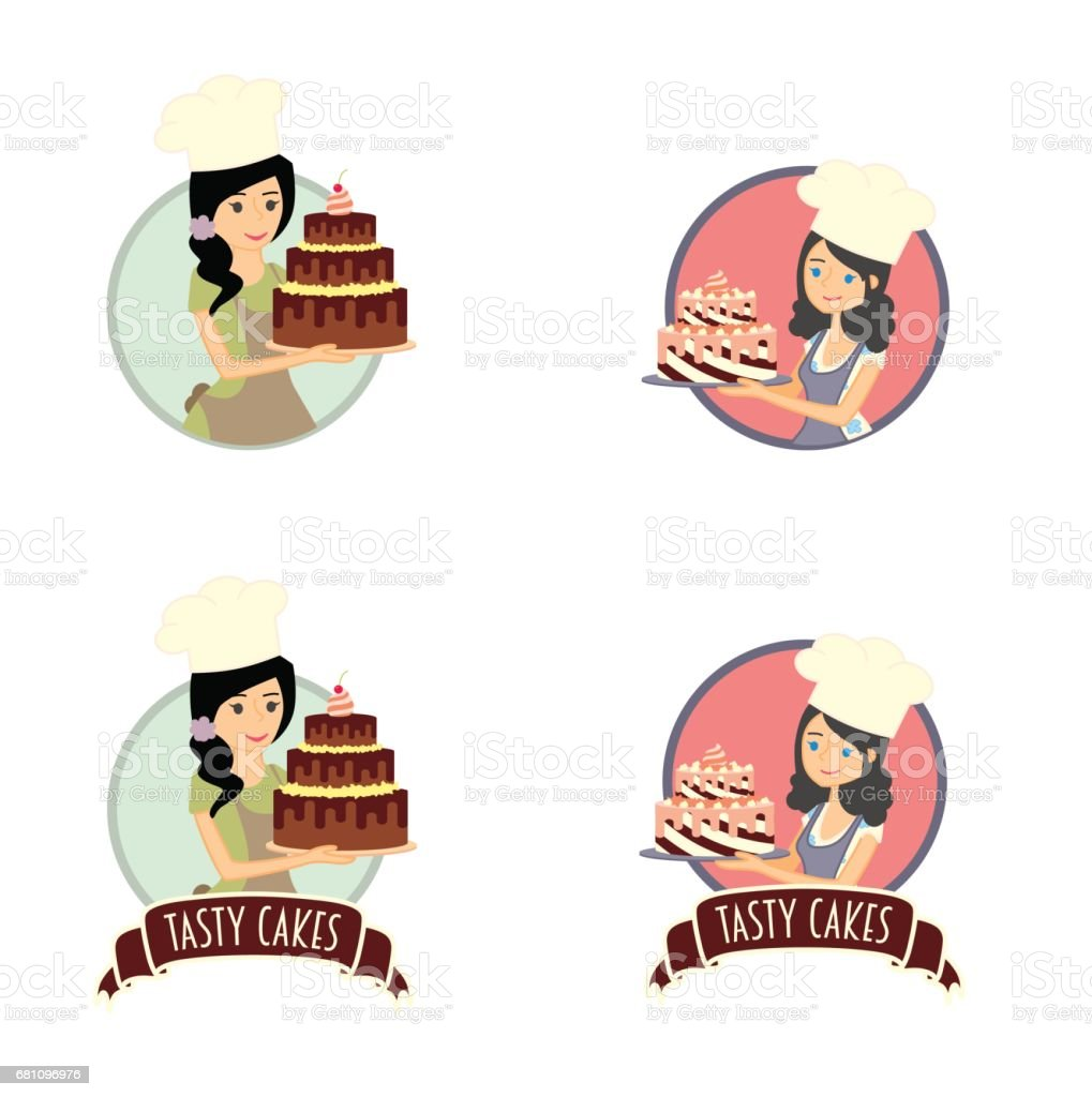 Set of vector labels, stickers or badges design concepts with female characters. Woman baker holding a delicious cake vector art illustration