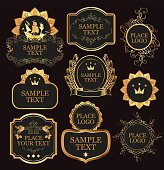 set of vector labels templates in baroque style