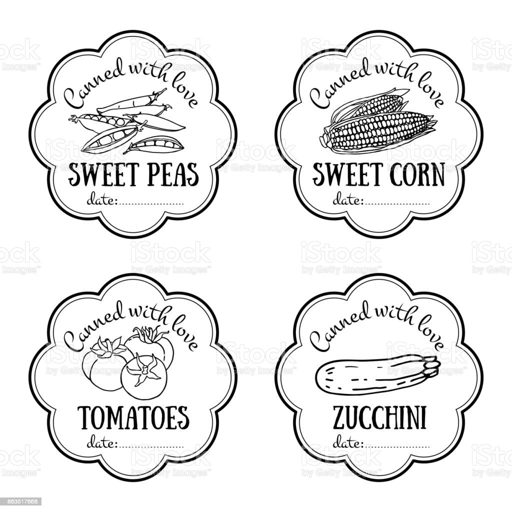 Set Of Vector Labels With Hand Drawn Vegetable Black And