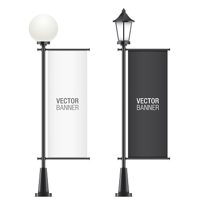 Set of vector lamposts with advertising flags.