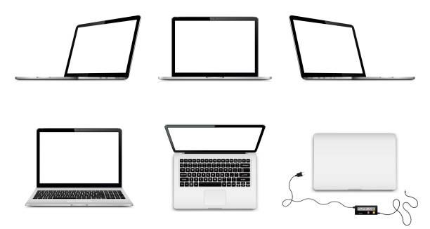 stockillustraties, clipart, cartoons en iconen met set van vector laptops met leeg scherm in verschillende posities - dicht