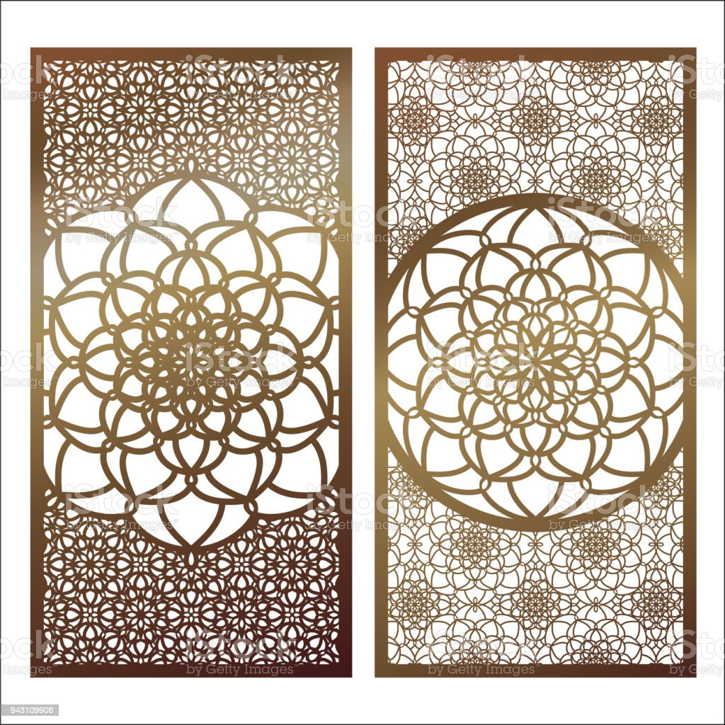 Set of Vector Laser cut panel. Pattern template for decorative panel. Wall panels or partition. Jigsaw die cut ornaments. Lacy cutout silhouette stencils. Fretwork floral oriental patterns with mandala. Vector template for paper cutting, metal, acrilic gl vector art illustration