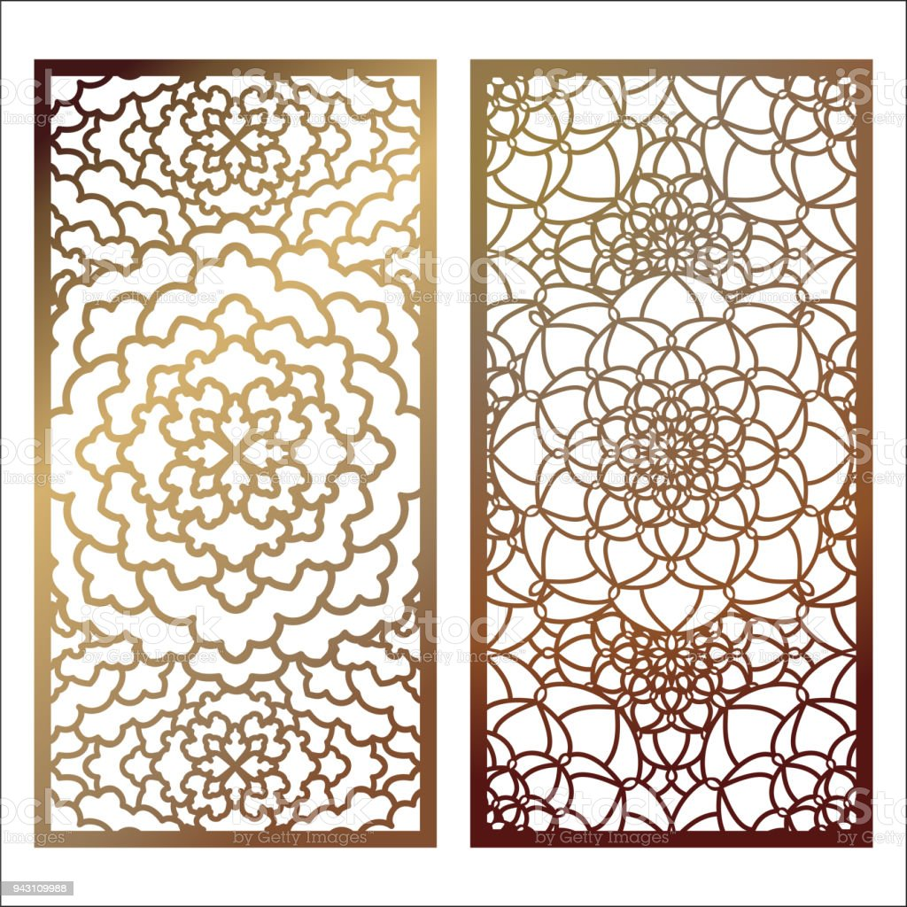set of vector laser cut panel pattern template for decorative panel