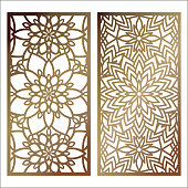 Set of Vector Laser cut panel. Pattern template for decorative panel. Wall panels or partition. Jigsaw die cut ornaments. Lacy cutout silhouette stencils. Fretwork floral patterns with mandala