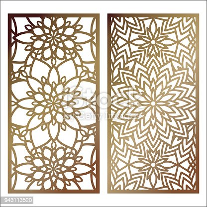 Set Of Vector Laser Cut Panel Pattern Template For