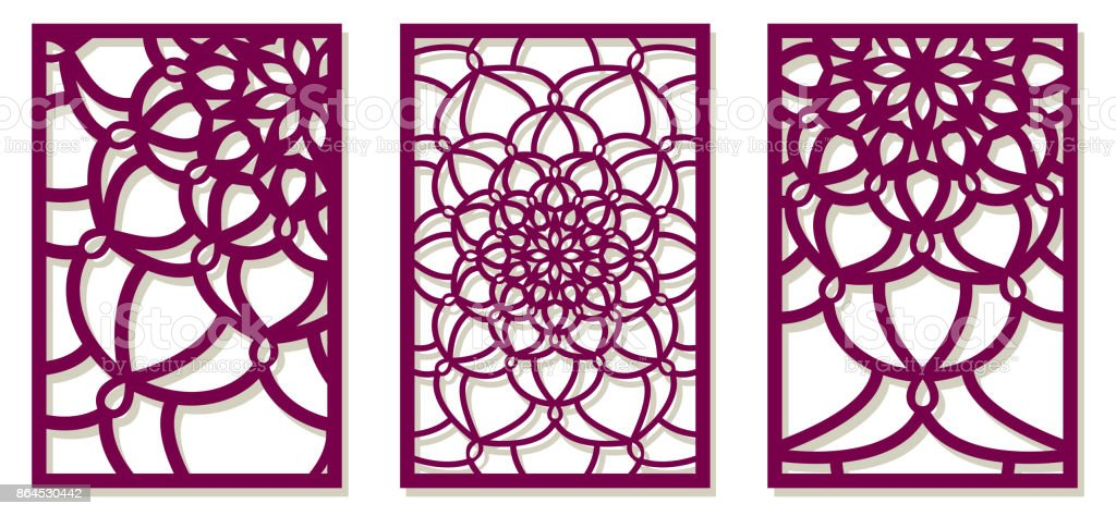 set of vector laser cut panels abstract pattern template for