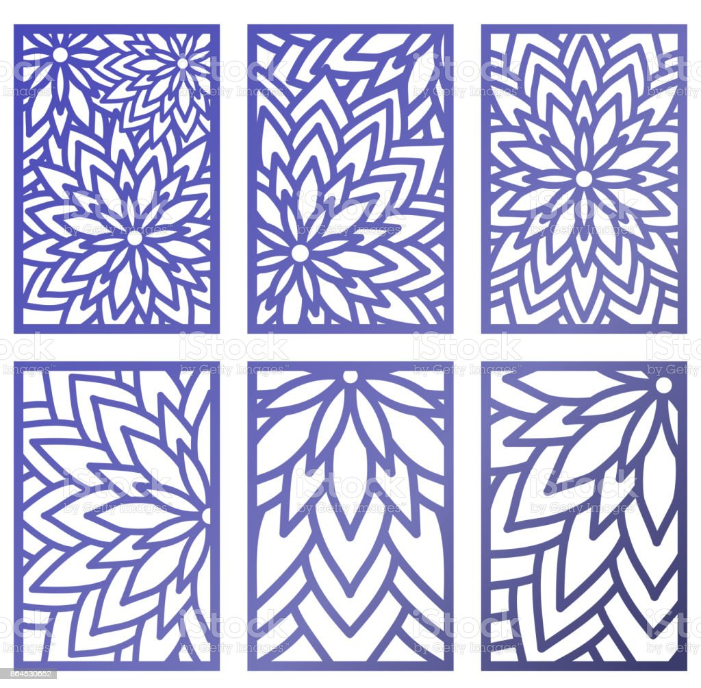 Set of Vector Laser cut panels. Abstract Pattern template for decorative panel. Template for interior design, layouts wedding invitations, gritting cards, envelopes, decorative art objects etc. Image suitable for engraving, printing, plotter cutting, lase