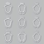 Set of vector laurel wreaths, shields