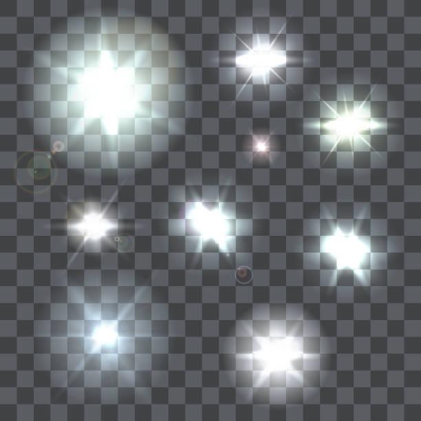 세트마다 벡터 렌즈 조명탄 빔 및 플래시 켜기 투명 - 카메라 플래시 stock illustrations