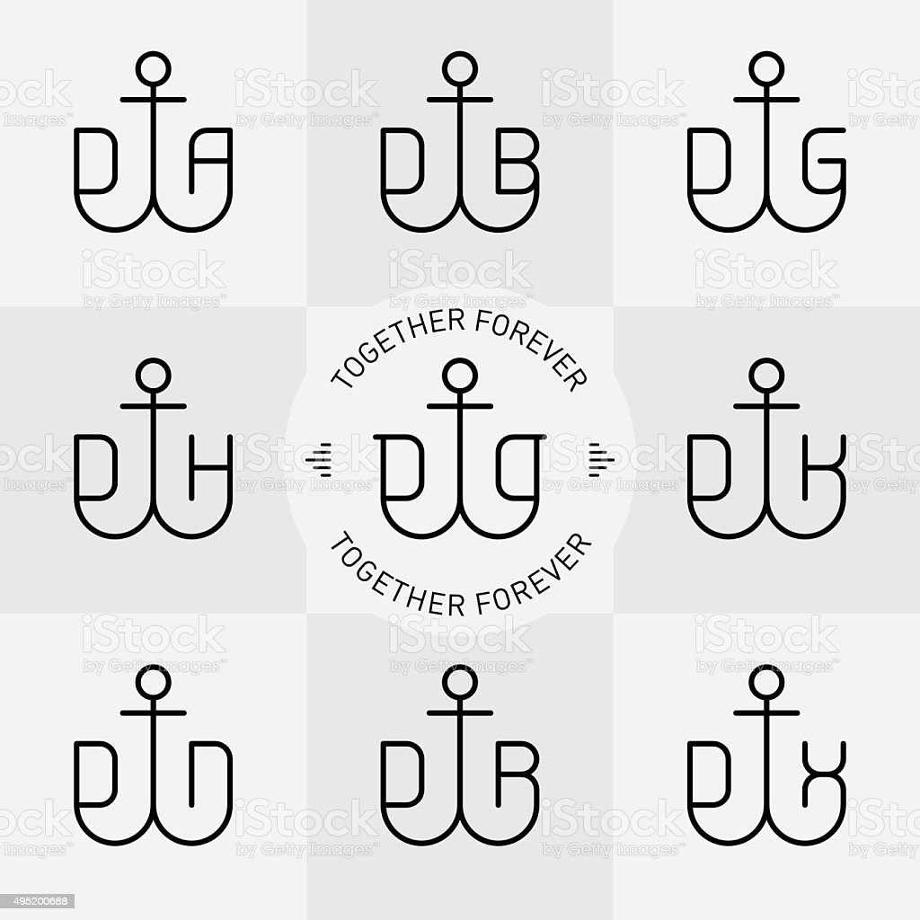 Satz von Vektor-Linie Anker und Buchstaben, Monogramme oder logotype. – Vektorgrafik