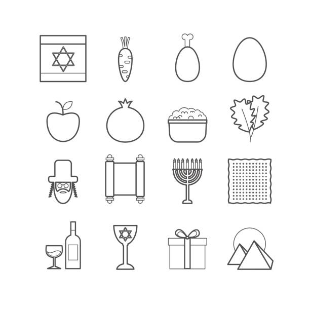 Set of vector line passover icons for web design Vector EPS 10 passover icons for design passover stock illustrations
