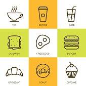 Set of vector simple linear food illustration. Breakfast icons, tea, coffee, juice, sandwich, fried egg, burger, croissant, donut, cupcake. Concept for breakfast menu, bar, cafe, restaurant.