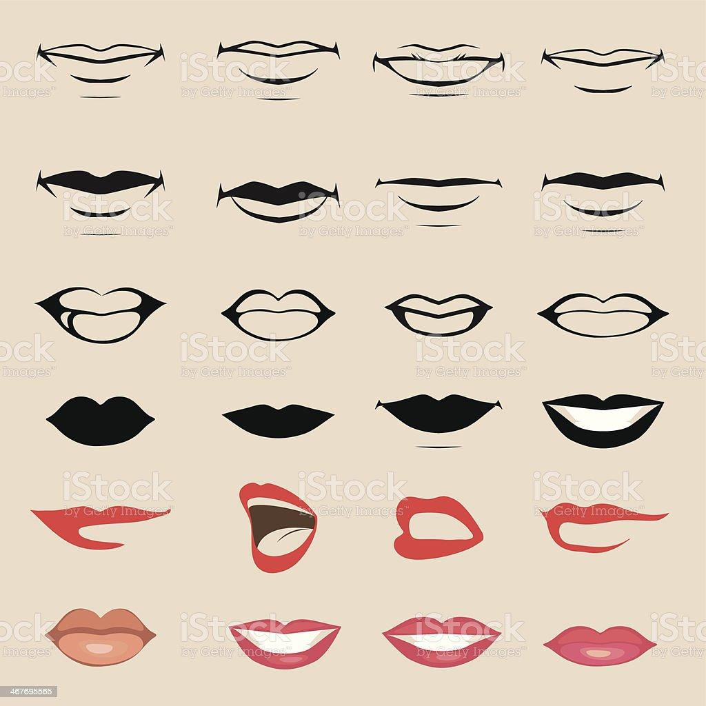 Conjunto de vetor lábios e boca em Fundo bege - ilustração de arte em vetor