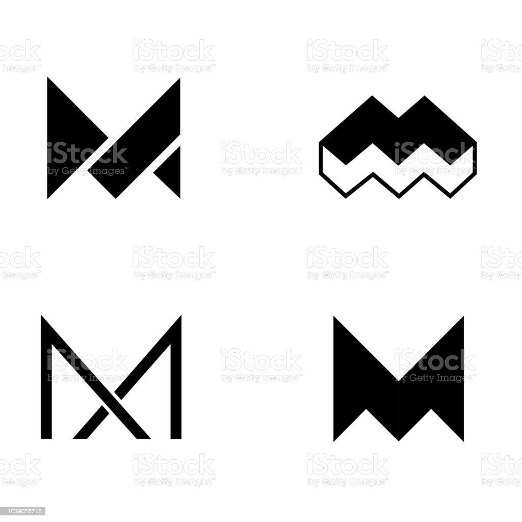 Ensemble De Modèle De Conception De Logo Vectoriel Logo De Lettre M ...
