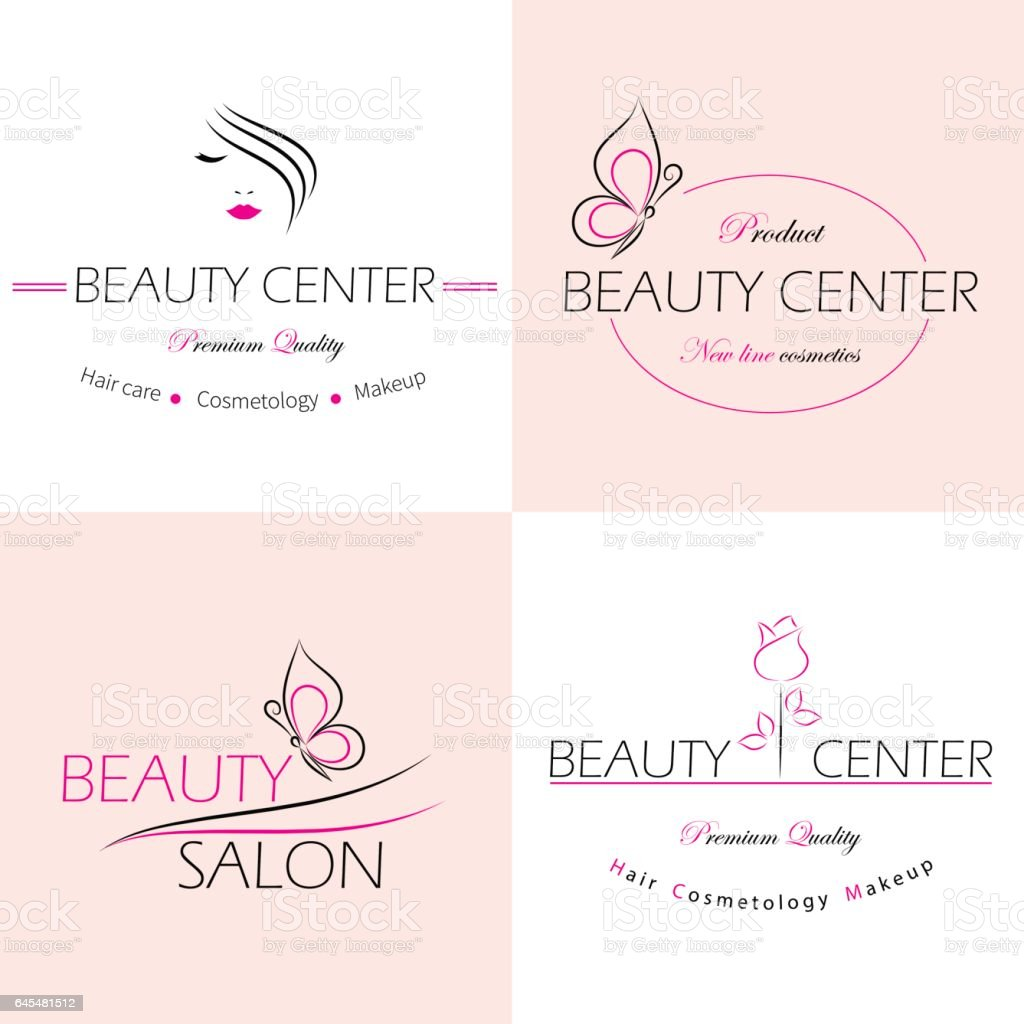 Set of vector logo templates, labels and badges for beauty salon vector art illustration