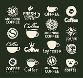 Set of vector coffee logos or icons with coffee cup, coffee beans and inscriptions. Templates for labels, badges, flyers, banners, invitations, brochures, menus, design elements.