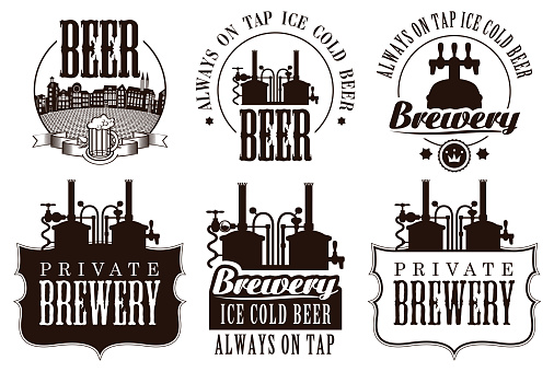 Set of vector logos, badges, labels and design element on the theme of beer and brewery. Vintage craft beer emblems, templates, symbols with beer equipment in monochrome style