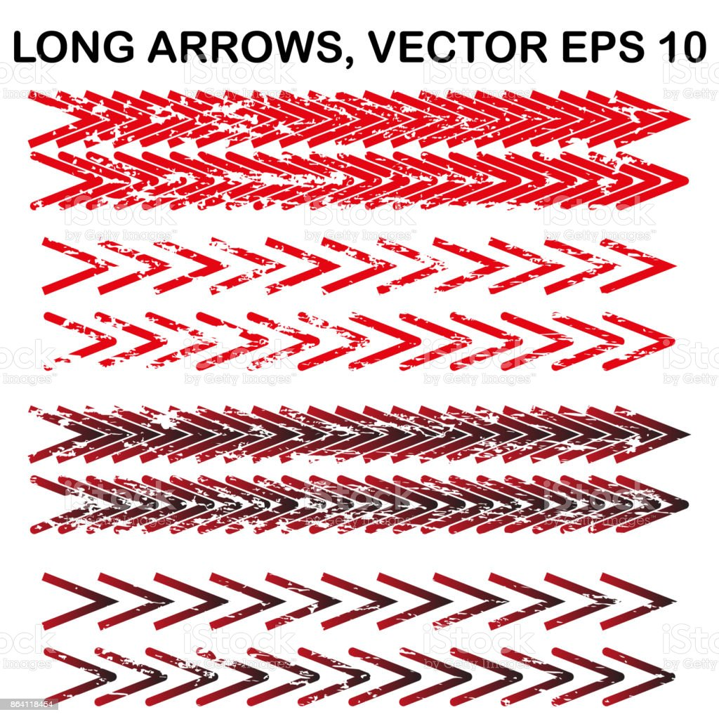 Set of vector long narrow textured arrows royalty-free set of vector long narrow textured arrows stock vector art & more images of abstract