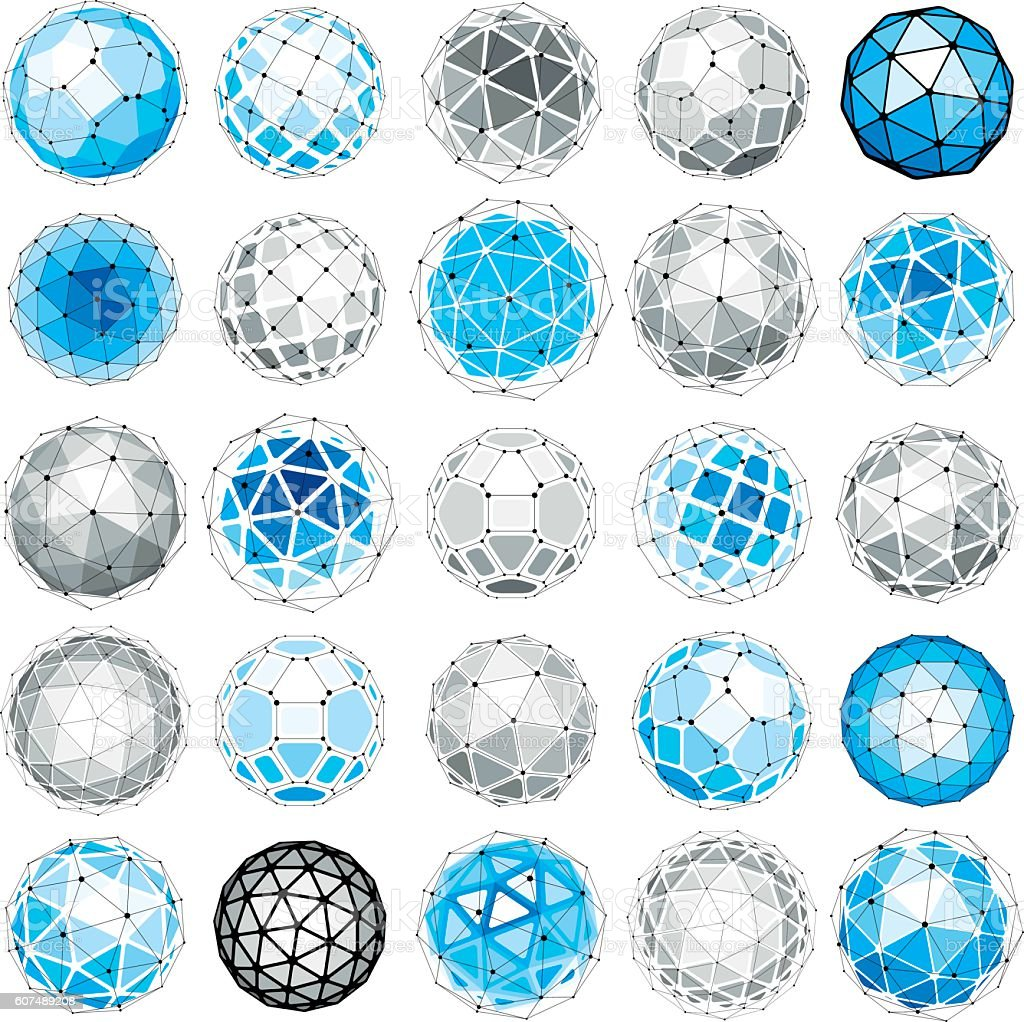 Set of vector low poly spherical objects with connected lines vector art illustration