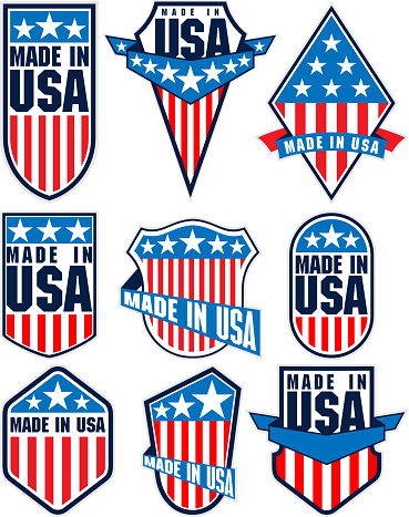 set of vector made in the USA labels emblems