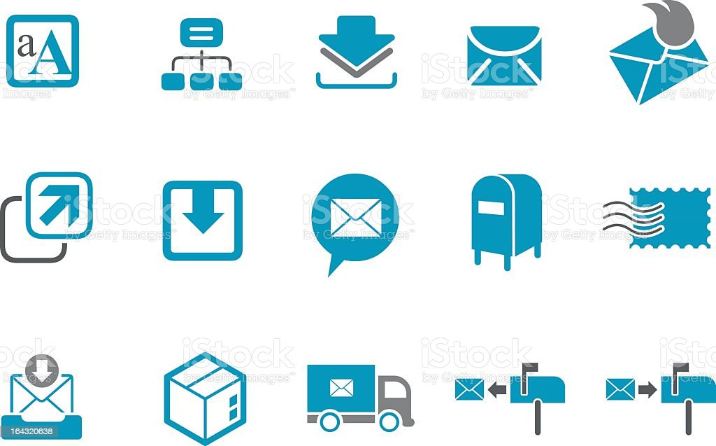 A set of vector mailing icons in blue and white vector art illustration