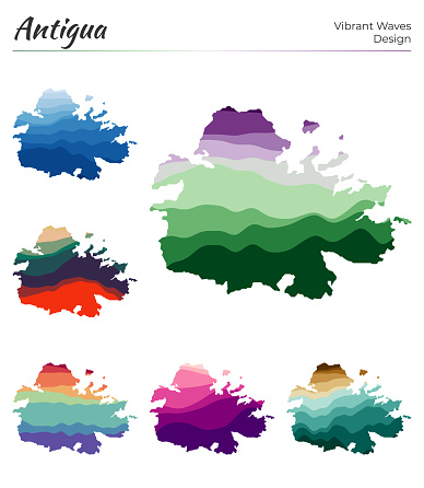 Set of vector maps of Antigua.