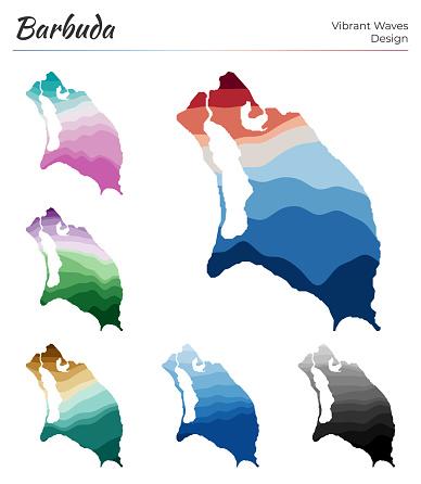 Set of vector maps of Barbuda.