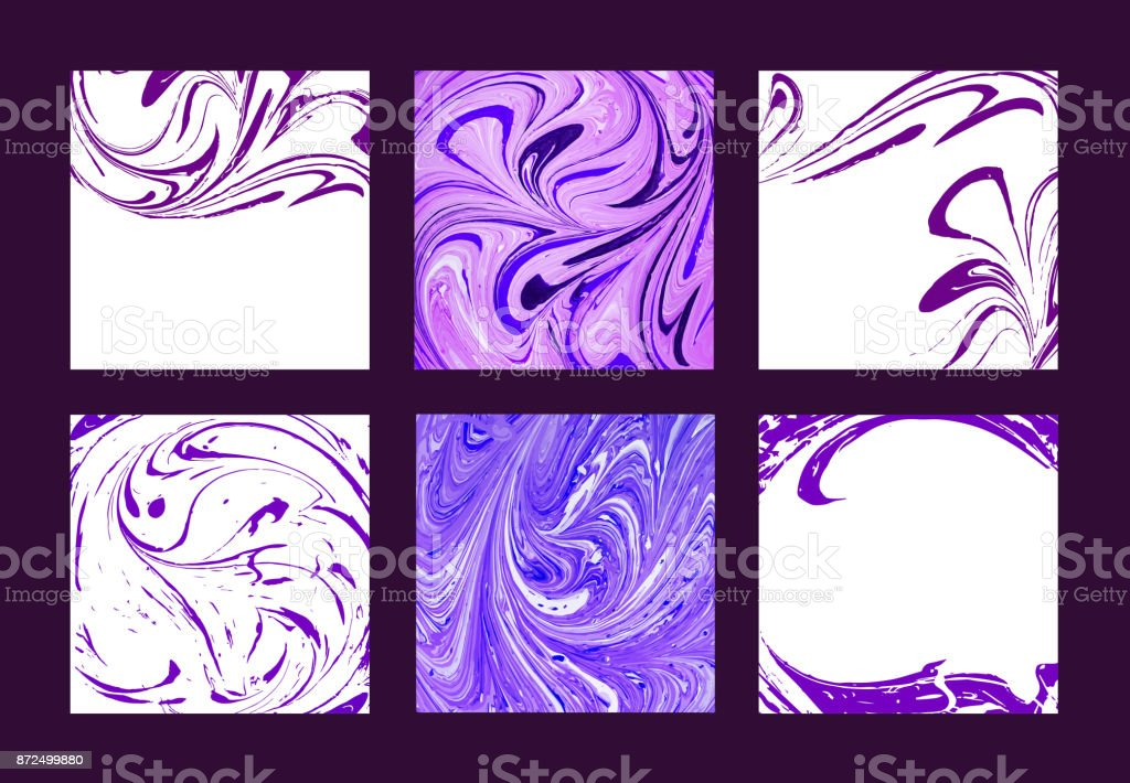 Set of vector marble abstract backgrounds. Liquid marble pattern. Trendy template vector art illustration
