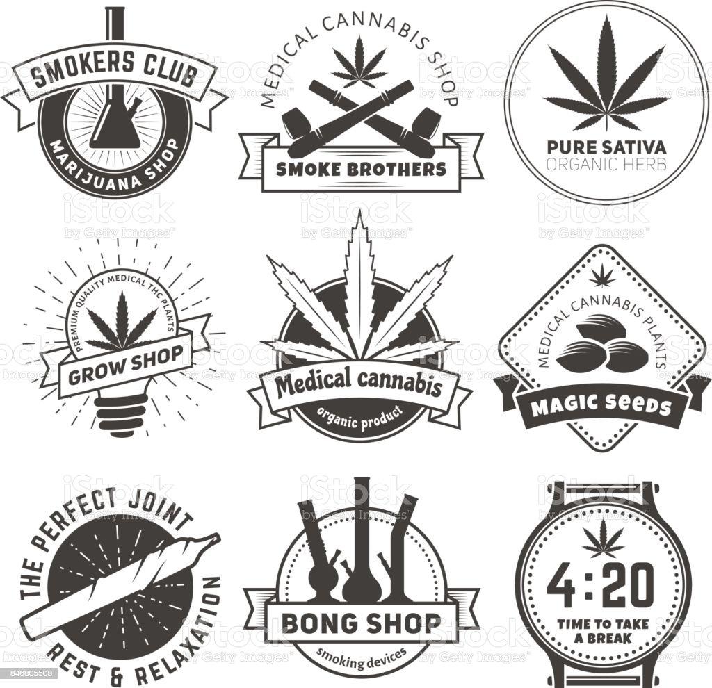 Set of vector marijuana smoking badges vector art illustration