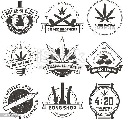 Set Of Vector Marijuana Smoking Badges Stock Vector Art ...