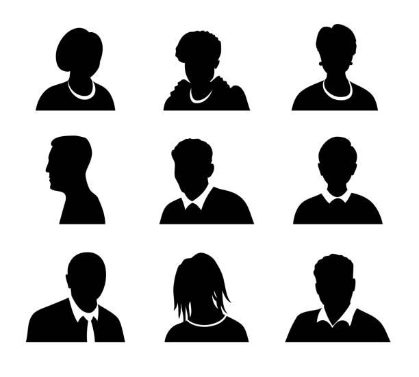 bildbanksillustrationer, clip art samt tecknat material och ikoner med uppsättning vektor män och kvinnor med business avatar profilbild. avatarer siluett - profile photo