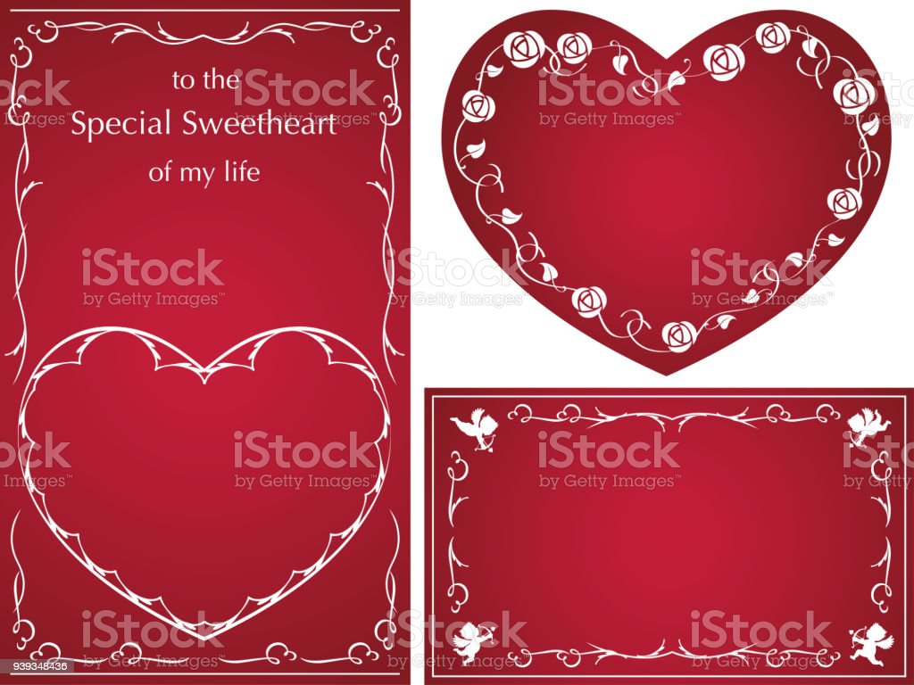 Set Of Vector Message Cardframes For Valentines Day Birthdays ...
