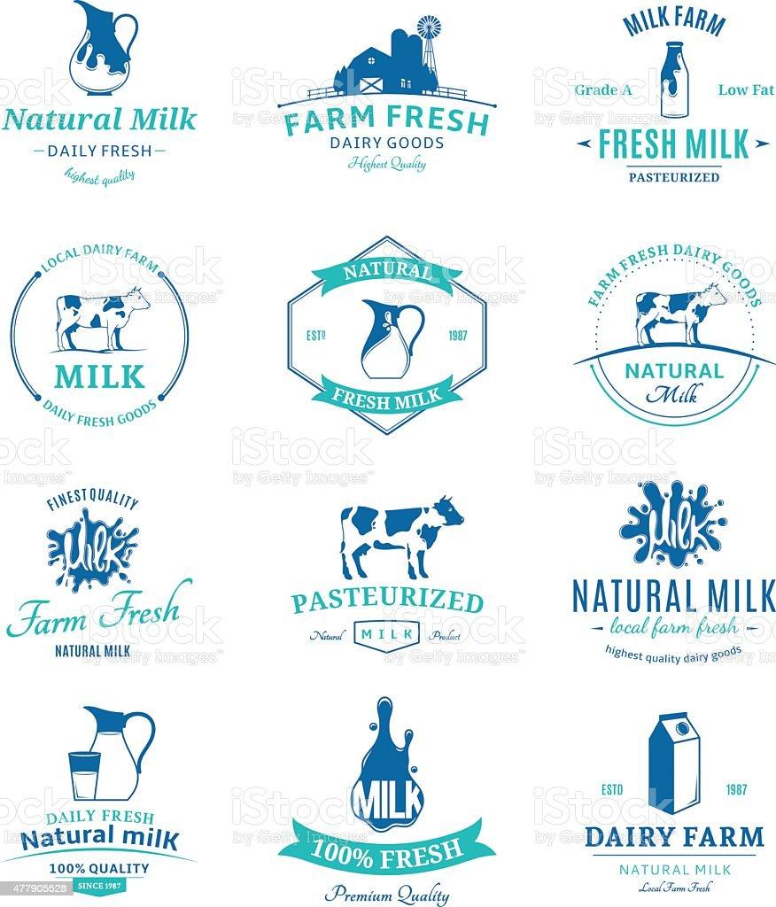 Set of Vector Milk Labels and Design Elements vector art illustration