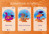 Set of vector mobile app pages about summer holidays on sea for tour agency or tour operator. Design of mobile screens for web application. Happy woman is sunbathing, surfing, relaxing on inflatable raft