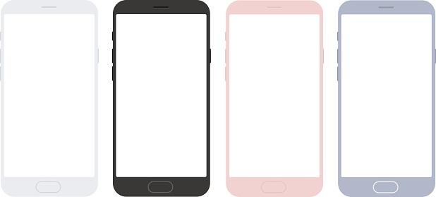 Set of vector mobile smart phone mockups for apps