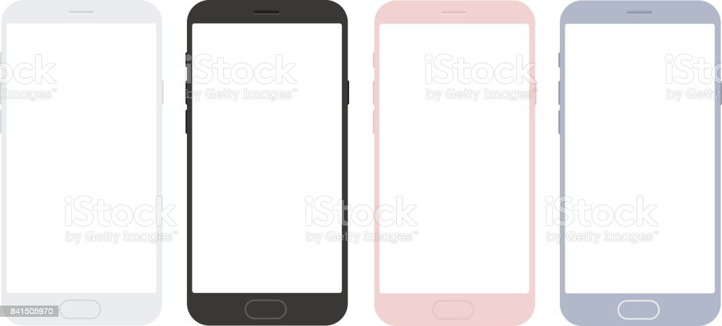 Set of vector mobile smart phone mockups for apps vector art illustration