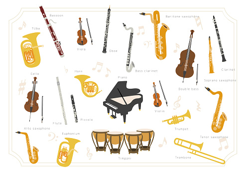 Set of vector modern flat design musical instruments. A group of orchestra instruments.