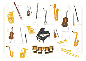 Set of vector modern flat design musical instruments. A group of orchestra instruments. Flat illustrations of musical instruments isolated on white background.