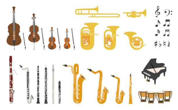 zestaw wektorowych nowoczesnych płaskich instrumentów orkiestrowych - instrument muzyczny stock illustrations