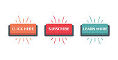 Set of vector modern trendy flat buttons. Different colors of main shapes and icons with different text in it. Click, Subscribe, Learn.