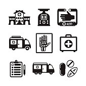 Set of vector monochrome medical icons like hospital building ambulance car first aid kit x-ray pills drugs and tablets in flat style