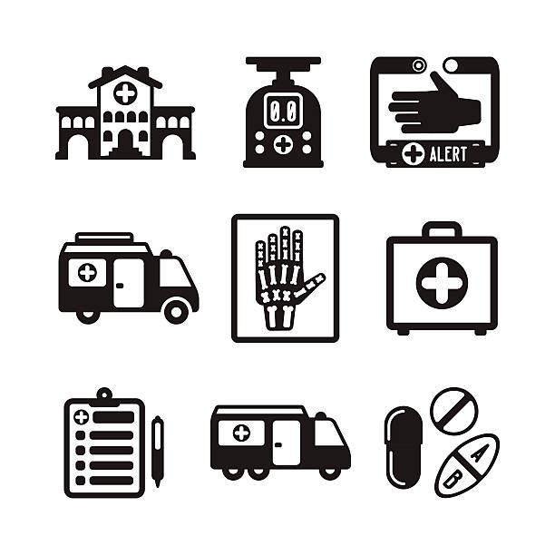 Set of vector monochrome medical icons in flat style Set of vector monochrome medical icons like hospital building ambulance car first aid kit x-ray pills drugs and tablets in flat style personal land vehicle stock illustrations