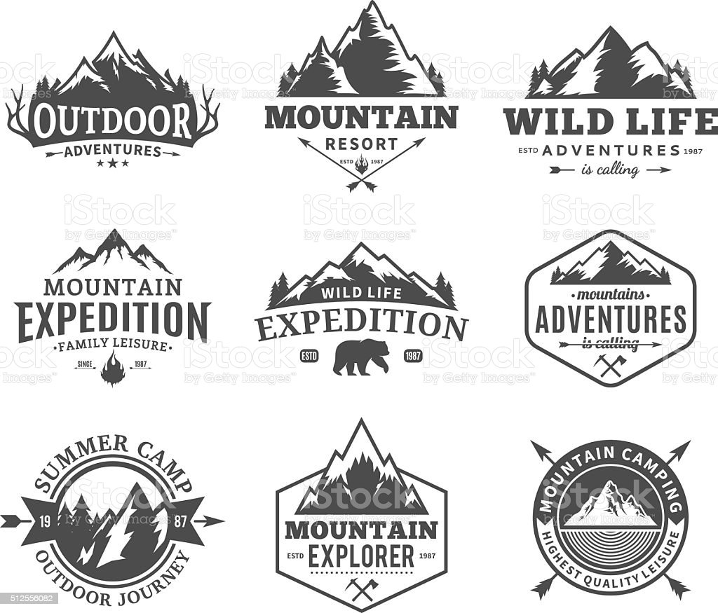 Set of vector mountain and outdoor adventures labels Set of vector mountain and outdoor adventures labels. Tourism, hiking and camping labels. Mountains and travel icons for tourism organizations, outdoor events and camping leisure. Adventure stock vector