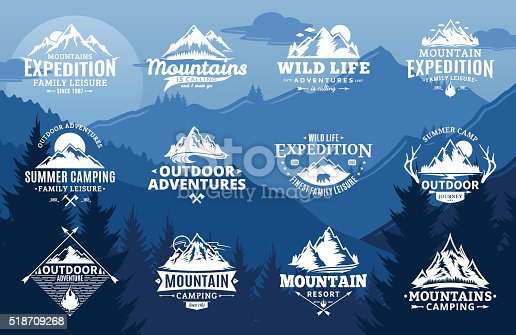 Set of vector mountain and outdoor adventures labels on mountain landscape background. Tourism, hiking and camping labels. Mountains and travel icons for tourism organizations, outdoor events and camping leisure.