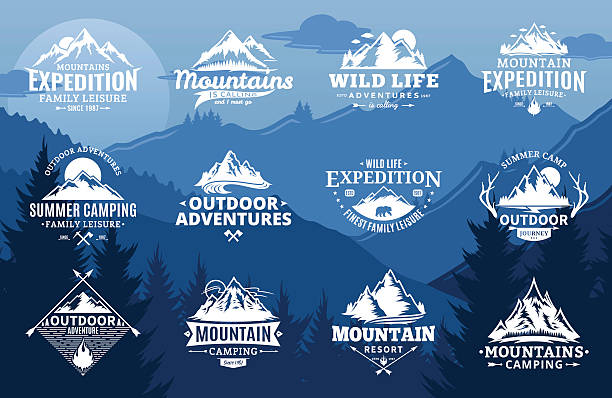 Set of vector mountain and outdoor adventures labels vector art illustration