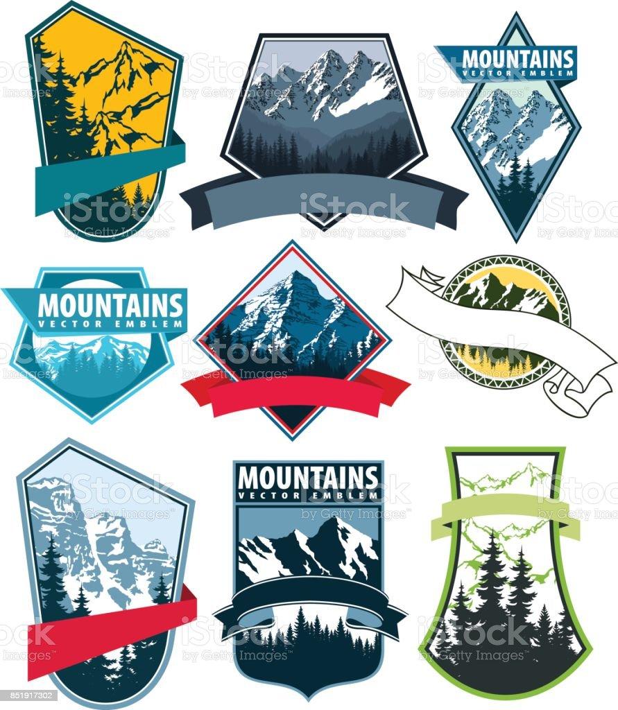 set of Vector Mountains Emblem vector art illustration