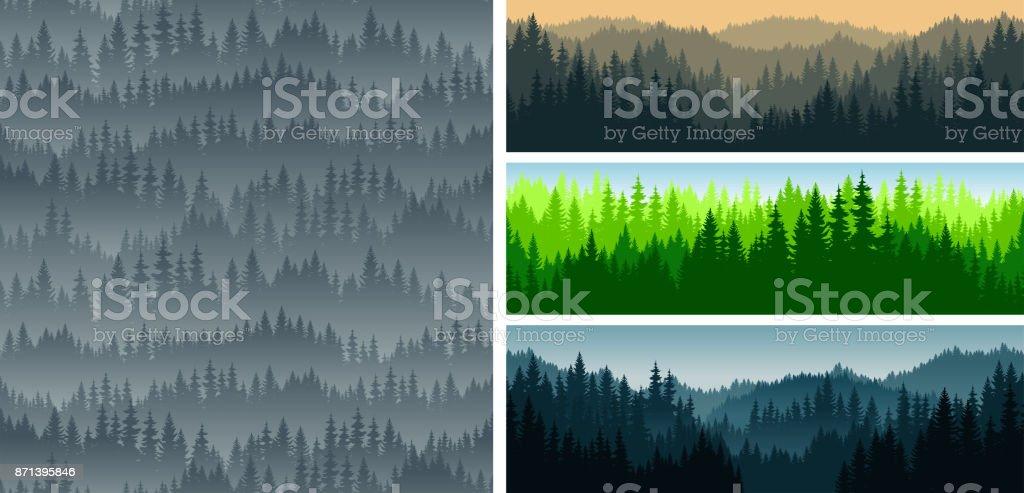 : conjunto de vectores montañas bosque bosque fondo textura de patrones sin fisuras - ilustración de arte vectorial